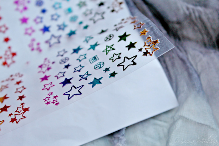 1 Sheet Gradient Gold Silver Star Nail 3D Sticker Adhesive Manicure DIY Nail Art Transfer Sticker