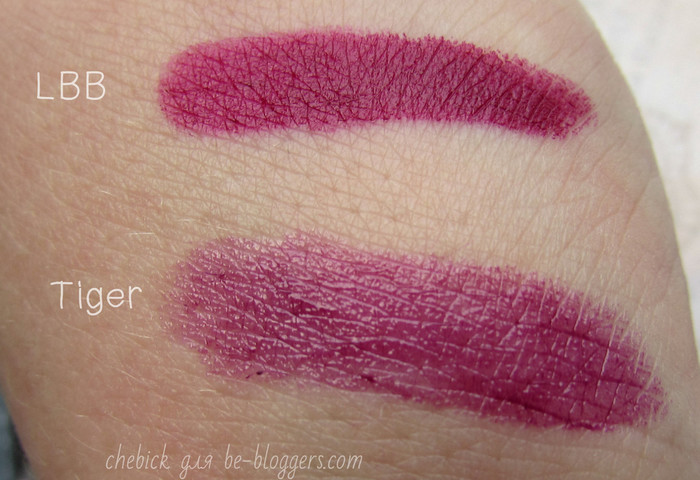 свотчи Lippie Stix ColourPop, оттенки LBB, Tiger